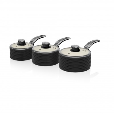 Retro 3 Piece Saucepan Set BLACK SWPS3020BN SWAN