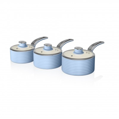 Retro 3 Piece Saucepan Set BLUE