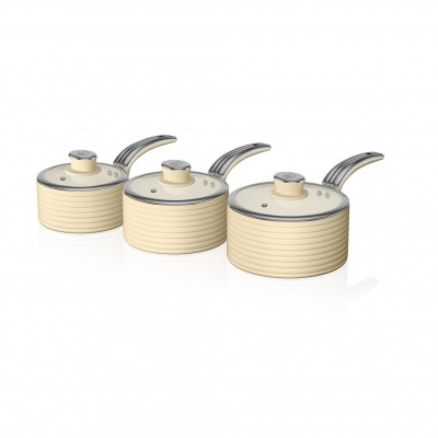 Retro 3 Piece Saucepan Set CREAM SWPS3020CN SWAN