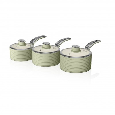 Retro 3 Piece Saucepan Set GREEN SWPS3020GN SWAN