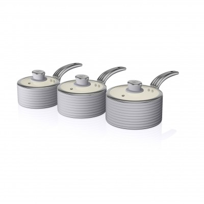 Retro 3 Piece Saucepan Set GREY