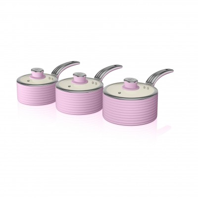 Retro 3 Piece Saucepan Set PINK
