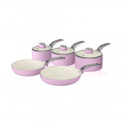 Retro 5 Piece Pan Set PINK