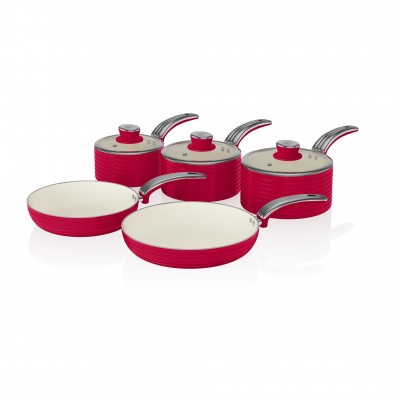 Retro 5 Piece Pan Set RED SWPS5020RN SWAN