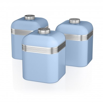 Retro Set of 3 Canisters BLUE