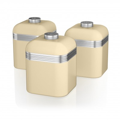 Retro Set of 3 Canisters CREAM