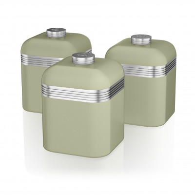 Retro Set of 3 Canisters GREEN