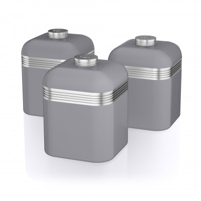 Retro Set of 3 Canisters GREY