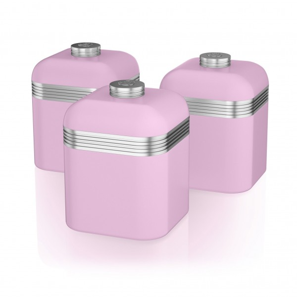 Retro Set of 3 Canisters PINK