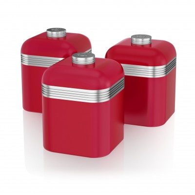Retro Set of 3 Canisters RED
