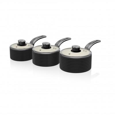 Retro 3 Piece Saucepan Set BLACK SWPS3020BN SWAN