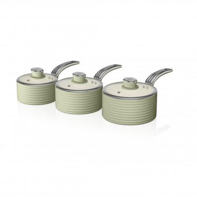 Retro 3 Piece Saucepan Set GREEN SWPS3020GN SWAN