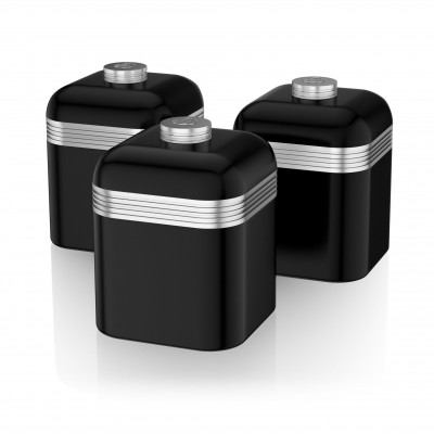 Retro Set of 3 Canisters BLACK