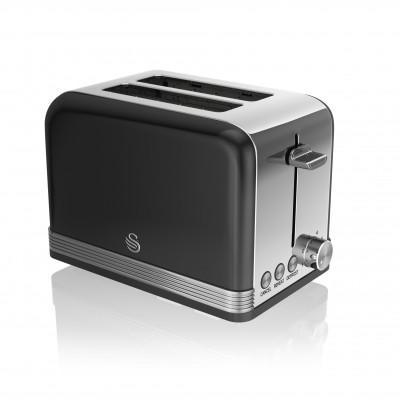2 Slice Retro BLACK Toaster